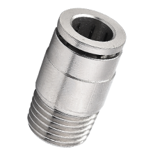 12 mm Tube x BSPT 3/8 Round Inline Connector Brass  Push in Fitting