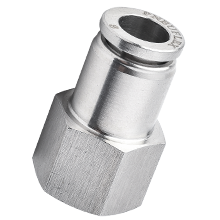 14 mm O.D Tubing, BSPP, G 1/2 Female Straight Stainless Steel Push in Fitting