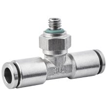5/32 inch O.D Tubing, M6 x 1 Male Tee Stainless Steel Push in Fitting