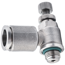 6 mm O.D Tubing, BSPP, G 1/4 Flow Control Regulator Stainless Steel Push in Fitting