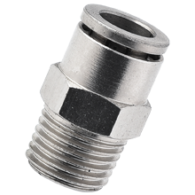 8 mm Tube x BSPT 1/8 Thread Hex Male Straight Brass Push in Fitting
