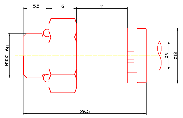 Dimensions of 6mm-M10x1 Male Straight, Male Connector