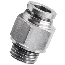 16 mm O.D Tube, BSPP, G 1/2 Male Connector, Male Straight Stainless Steel Push in Fitting