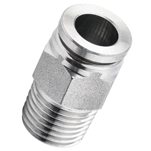 16 mm O.D Tubing, R, BSPT 1/4 Male Straight Stainless Steel Push in Fitting